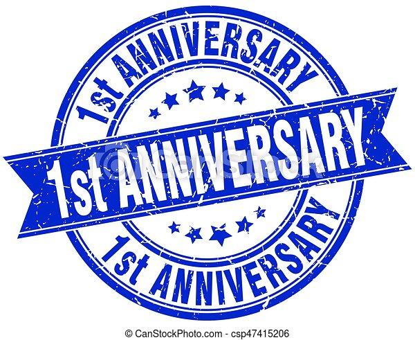 1st anniversary round grunge ribbon stamp - csp47415206