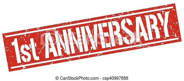 1st anniversary square grunge stamp - csp40997888