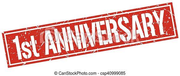 1st anniversary square grunge stamp - csp40999085