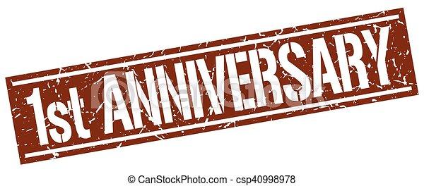 1st anniversary square grunge stamp - csp40998978