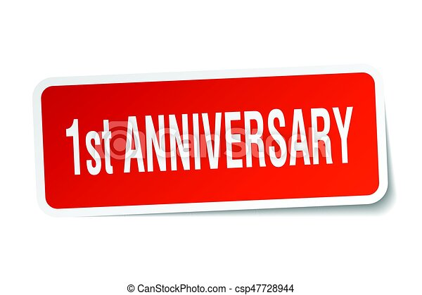 1st anniversary square sticker on white - csp47728944