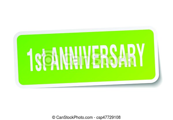 1st anniversary square sticker on white - csp47729108