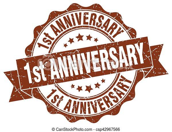 1st anniversary stamp. sign. seal - csp42967566