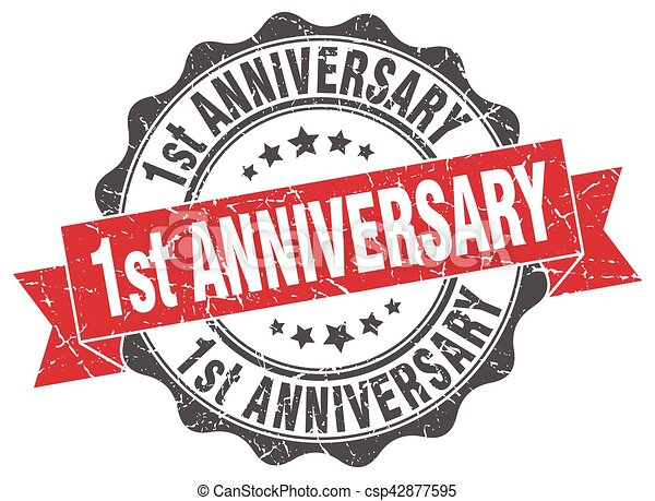 1st anniversary stamp. sign. seal - csp42877595