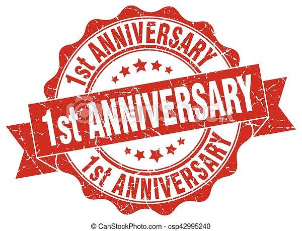1st anniversary stamp. sign. seal - csp42995240