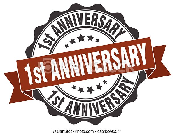 1st anniversary stamp. sign. seal - csp42995541