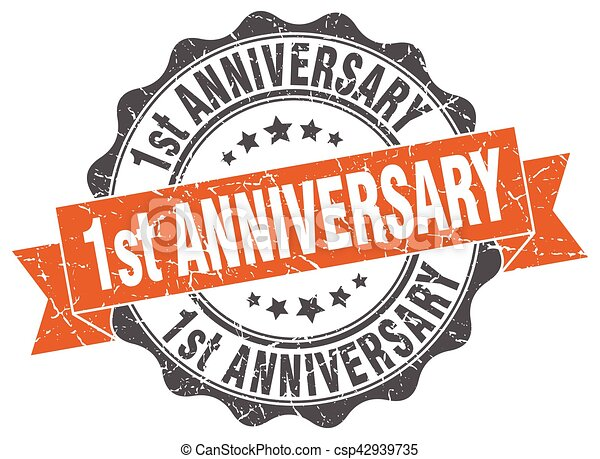 1st anniversary stamp. sign. seal - csp42939735