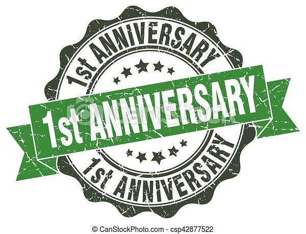 1st anniversary stamp. sign. seal - csp42877522