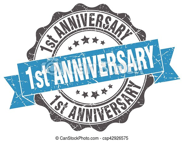 1st anniversary stamp. sign. seal - csp42926575