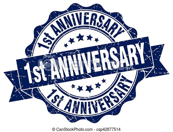 1st anniversary stamp. sign. seal - csp42877514