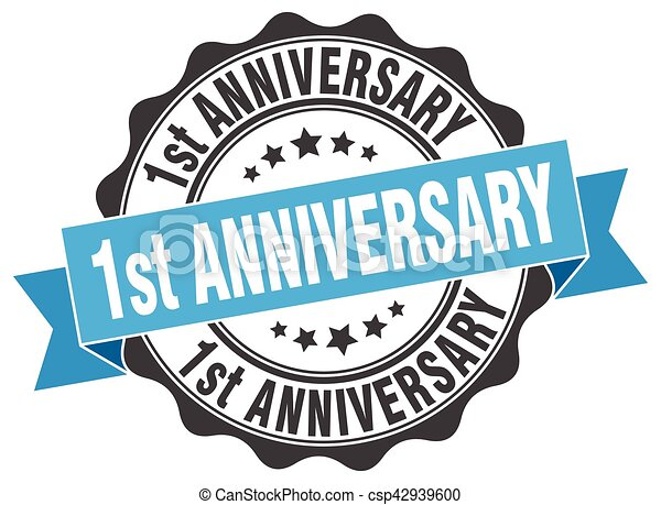 1st anniversary stamp. sign. seal - csp42939600