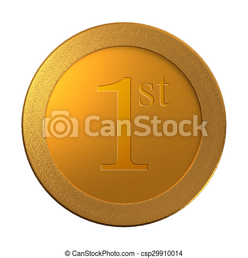 1st gold coin medal template the metal of medal for the prize concept