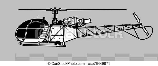 2, áttekintés, 313, alouette, vektor, 318., önvédelmi fegyverek, aerospatiale, rajz - csp76449871