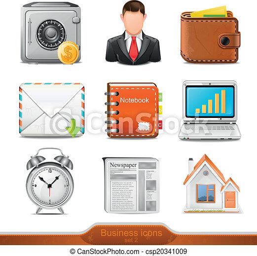 2, ベクトル, セット, ビジネス アイコン - csp20341009