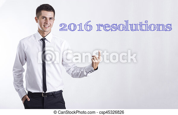 2., 指すこと, テキスト, -, 若い, 3., ビジネスマン, 微笑, 2016, resolutions, 1. - csp45326826