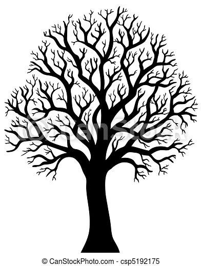 2, 樹, 沒有, 黑色半面畫像, 葉子 - csp5192175
