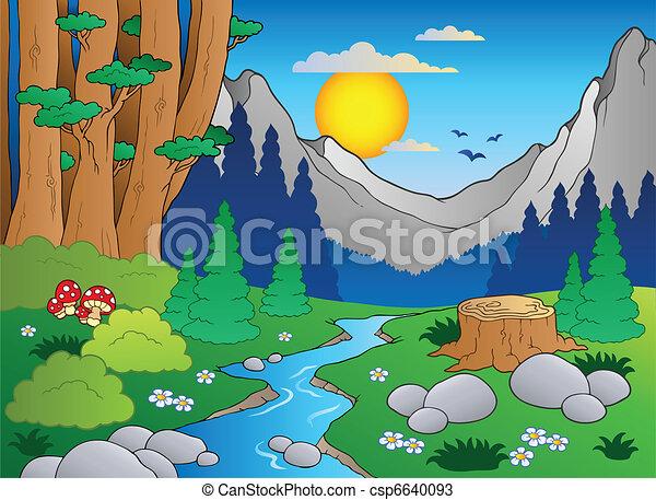 2, 漫画, 風景, 森林 - csp6640093