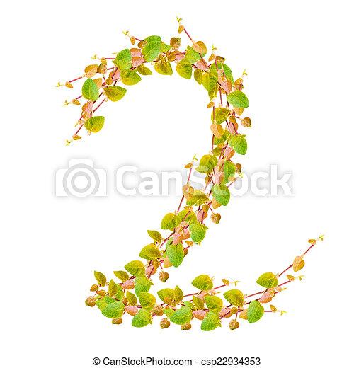 2, alfabeto, hojas, verde, número.