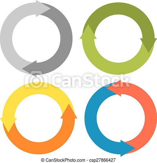 2 Arrows Making A Circle Set Of 4 Isolated Colorful Circles 2