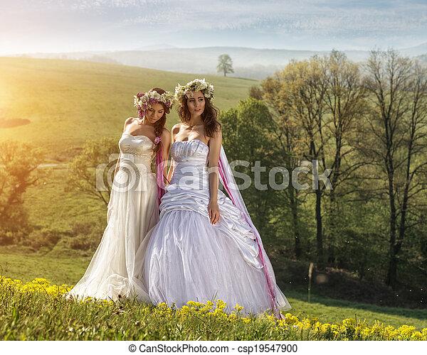 2 Beautiful bride in the outdoors - idyllic - csp19547900