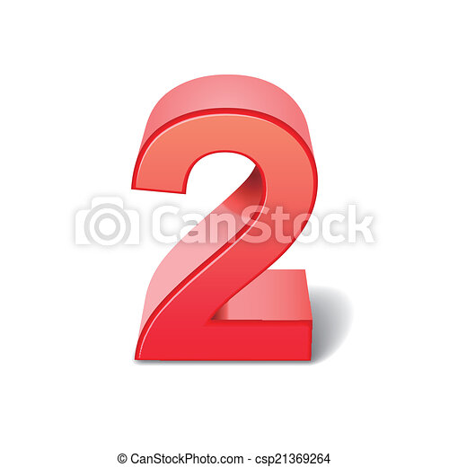 2, -, número, rojo. 3d, rendido, número, ilustración, rojo ...