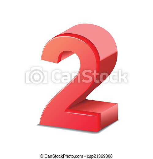 2, brillante, número, rojo, 3d. Aislado, número 2, plano de ...