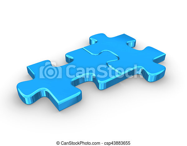 2 Connected Blue Puzzle Pieces 3d Rendered Illustration