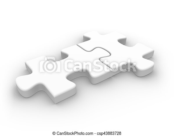 2 Connected Puzzle Pieces 3d Rendered Illustration