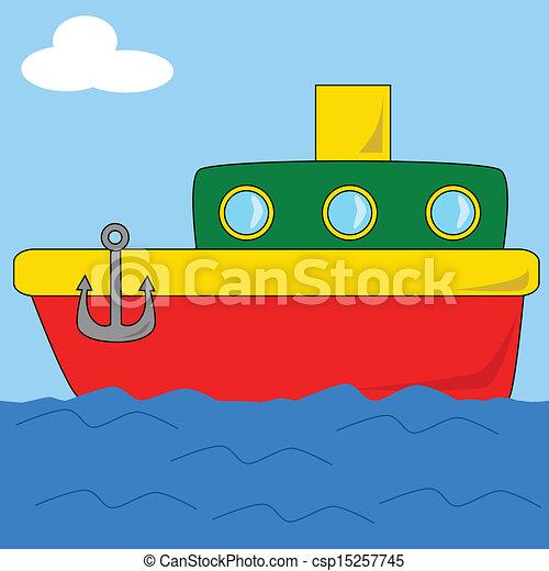2, dessin animé, bateau - csp15257745