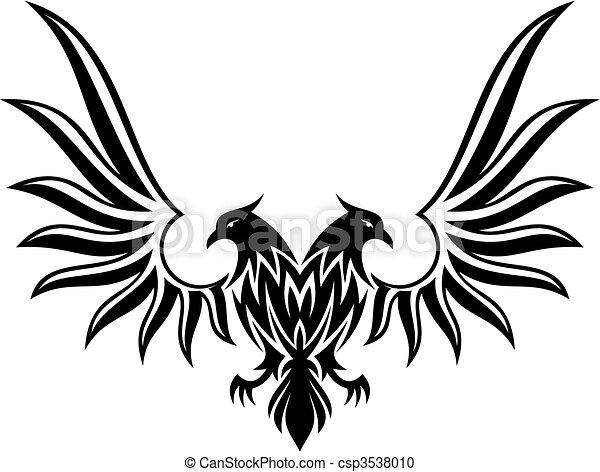 2, dubbel, vector, gekopt, adelaar - csp3538010