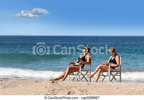 2 girls on the beach - csp0289867