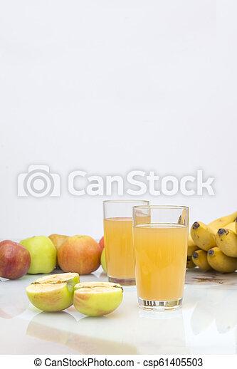 2, glasses, Apple juice, juice, apples, bananas, fruit, - csp61405503