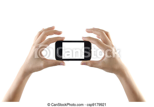 2 hands holding small smartphone - csp9179921