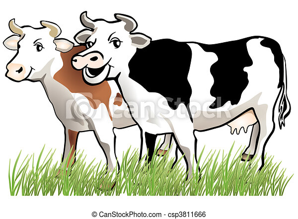 2 happy cows rh canstockphoto com cows clipart black and white cow's milk clipart