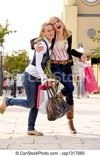 2 Happy Sisters Two Young Girls Shopping In The Sunny Weather