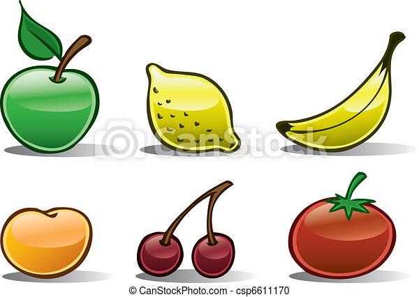 2, iconos, fruta, básico. Básico, conjunto, come), (more, cereza ...
