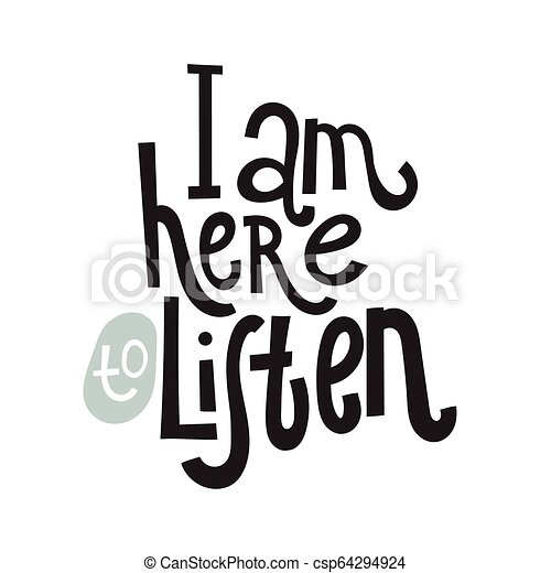 2 Mental Health Quotes I Am Here To Listen Unique Vector Hand