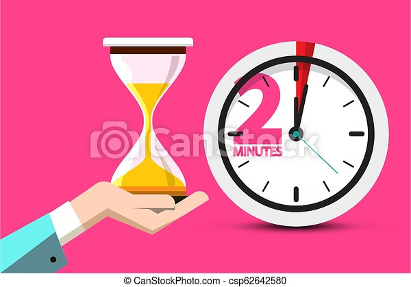 2 Minutes Hourglass Time Symbol. 2 Minute Counter Icon with Sand Clock on Human Hand. Vector Flat Design Stopwatch Design on Pink Background. - csp62642580
