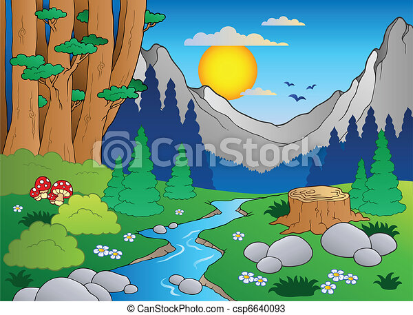 2, rysunek, krajobraz, las - csp6640093