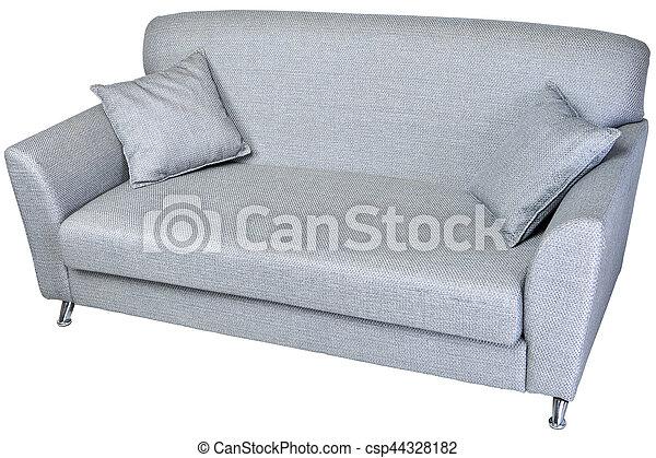 2 seater modern sofa in light grey fabric, on whaite.