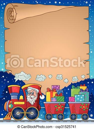 Parchment con el tema del tren de Navidad 2 - csp31525741