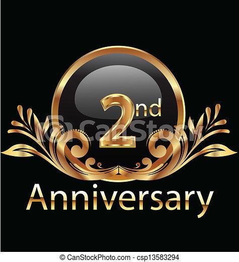 2 years anniversary birthday in gold