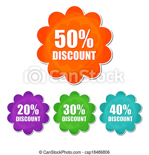 20, 30, 40, 50 percentages spring discount banners - text in four colors flowers labels, business shopping seasonal concept, flat design - csp18486806