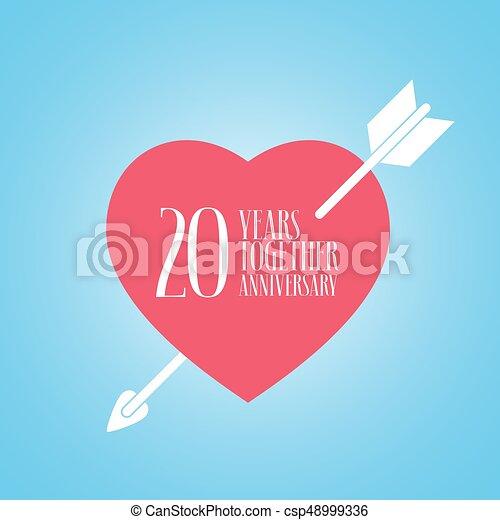 20 Anniversario Di Matrimonio.20 Anniversario Illustrazione Anni Vettore Matrimonio