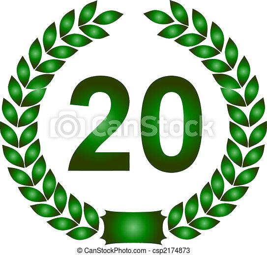 20 Corona Dalloro Verde Anni 20 Ghirlanda Illustrazione Anni