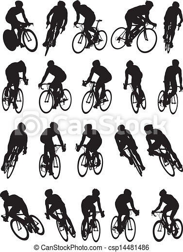 20 detail racing bicycle silhouette - csp14481486