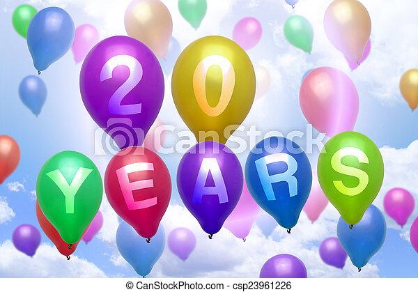 födelsedag 20 år 20, färgrik, balloon, år, födelsedag, sväller, lycklig. 20  födelsedag 20 år