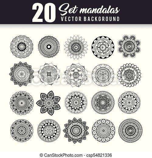 20 mandalas monochrome boho style set - csp54821336