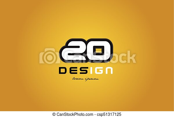 20 number numeral digit white on yellow background - csp51317125