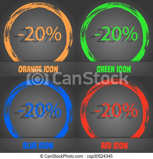 20 percent discount sign icon. Sale symbol. Special offer label. Fashionable modern style. In the orange, green, blue, red design. Vector - csp30524345
